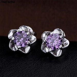 Sterling Silver Floral Purple CZ Earrings